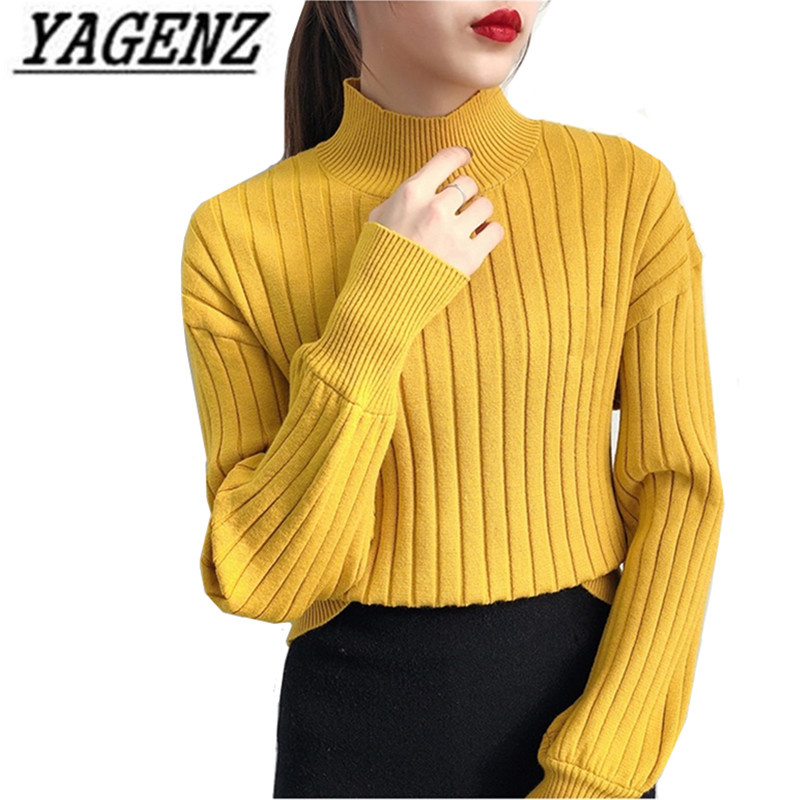 Knit Shirt Pullover Clothing Sweaters Lantern-Sleeves Women's Turtleneck Winter Loose