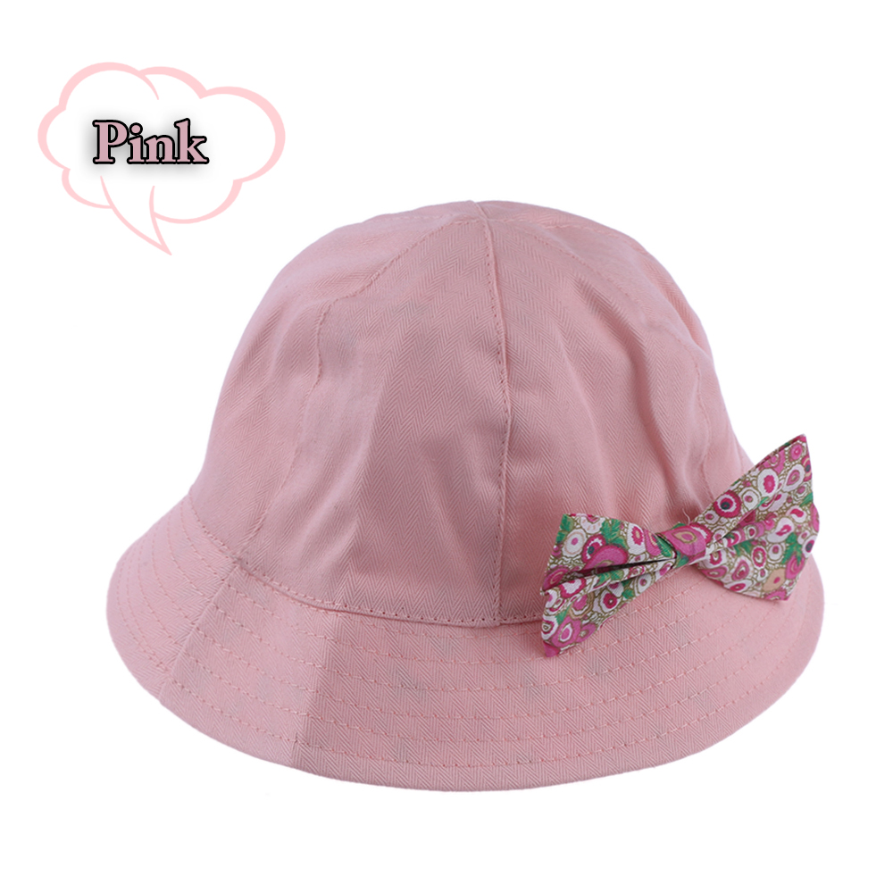 1PC Kids Girls Summer Cap Cute Princess Infant Flower Sun Cap Cotton Bucket Hat Cute White and Pink Baby Hat Summer Cap