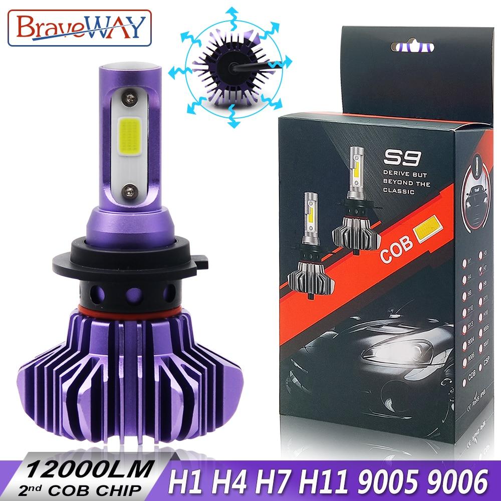 BraveWay H4 H7 Led Ampoules pour Auto H1 H8 H11 HB3 9005 HB4 9006 Led H1 Lampe Led Ampoule lampes de voiture Automobile Phare 12000LM