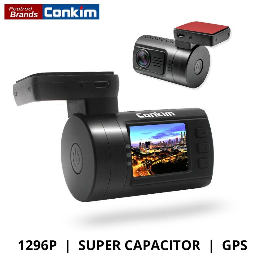 Conkim Ambarella A7 Dash Cam Mini 0806 s del coche DVR con el GPS 1296 P 1080 p Full HD Video Auto grabador súper condensador coche Cámara GPS