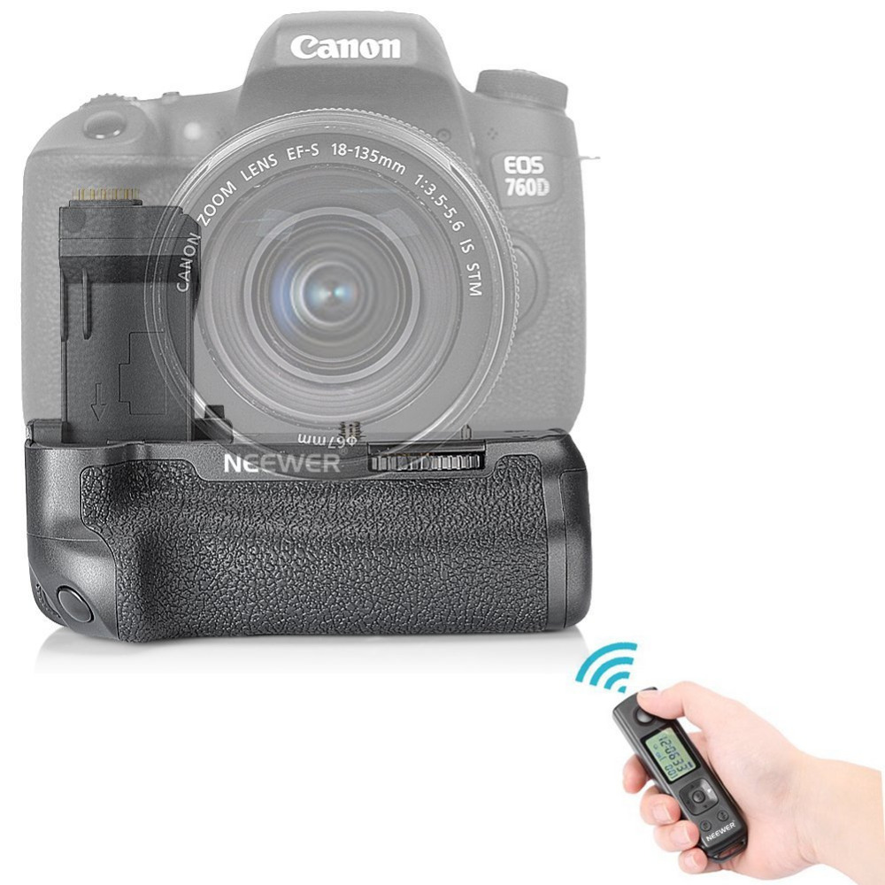 Neewer NW-760D Pro Battery Grip Replacement for BG-E18 LCD Display Built-in 2.4G Wireless Remote Control for Canon EOS 750D/T6i meike mk 760d pro built in 2 4g wireless control battery grip suit for canon 750d 760d as bg e18
