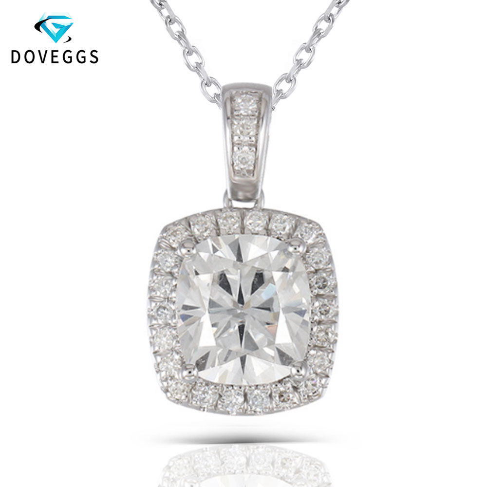 DovEggs Platinum Plated Silver Necklace 2 18CTW 7X8mm H Nearly Colorless Cushion Cut Moissanite Halo Pendant