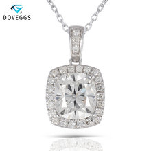 цена DovEggs Sterling Solid 925 Silver Necklace 2.18CTW 7X8mm H Nearly Colorless Cushion Cut Moissanite Halo Women Pendant Necklace онлайн в 2017 году