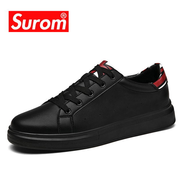 SUROM Male Shoes Adult Lace up Fashion Sneakers Artifical Leather Black White Color Men'sneakers Simple Design Men Krasovki