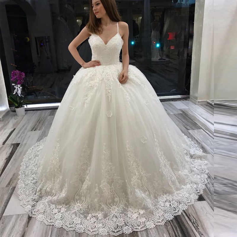 7a8ab564f21b Detail Feedback Questions about 2019 White Ivory Puffy Princess Wedding  Dresses Spaghetti Straps Lace Ball Gown V neck Sleeveless Bridal Dresses  Custom Made ...