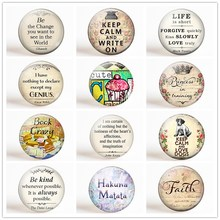 Inspirational Quotes Fridge Magnet Set Letter 12pcs/set 25MM glass dome Refrigerator Round Magnetic Sticker home decor