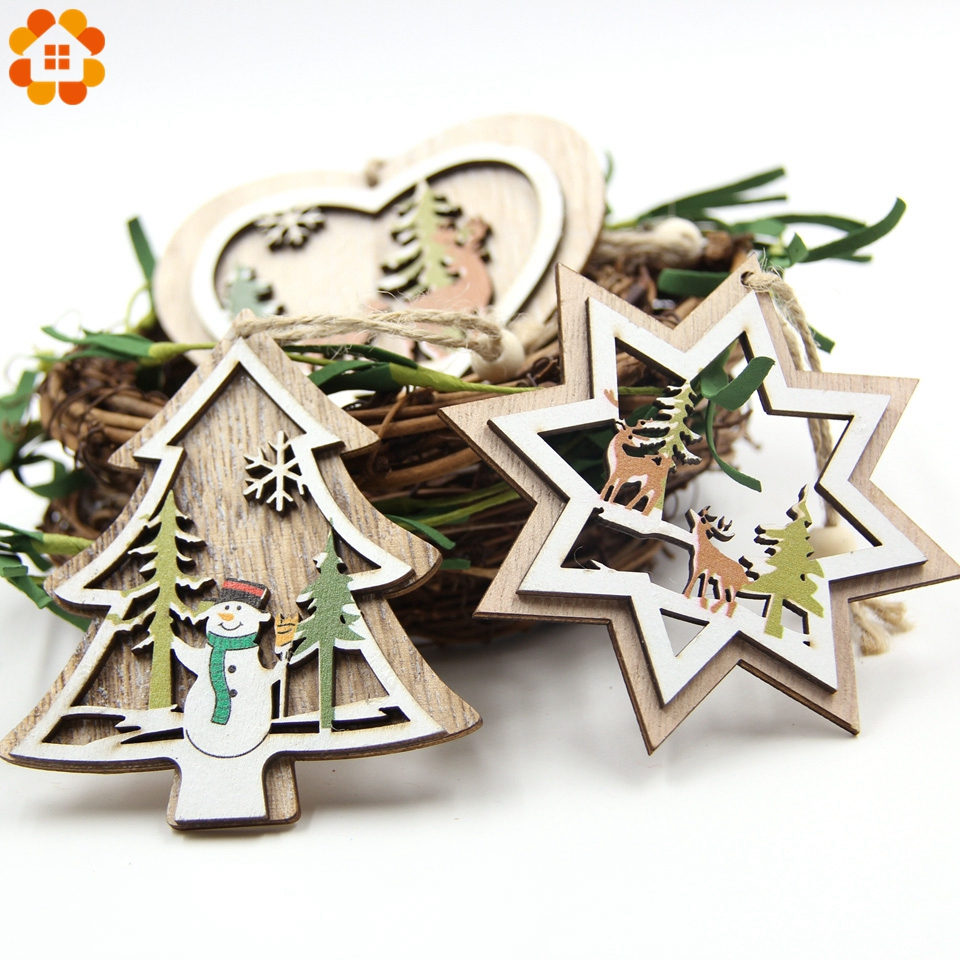1PC DIY Colorful Multi Type Christmas Wooden Pendants Ornaments For Christmas Party Xmas Tree Hanging Kids Gifts Decorations in Pendant Drop Ornaments from Home Garden