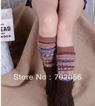 girl rabbit fur wool blend long leg warmer Leg Shoes Ankle Warmer Boot Sleeves Cover 6 pairs/lot #3297