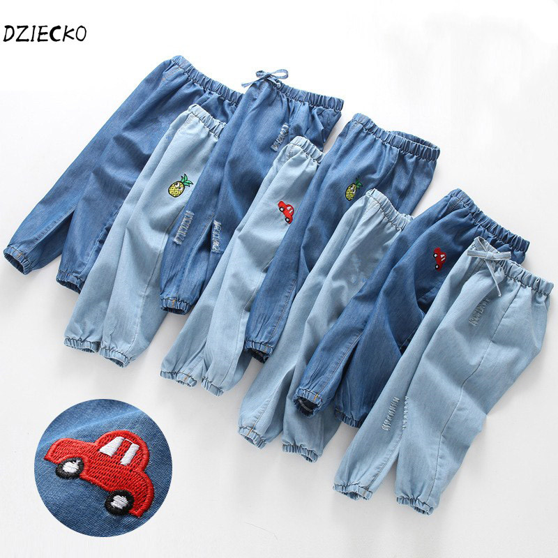 DZIECKO Toddler Boys Pants Kids 100% Cotton 2018 Brand Children Trousers Denim Pants Embroidery Car Jeans Baby Girls Clothes