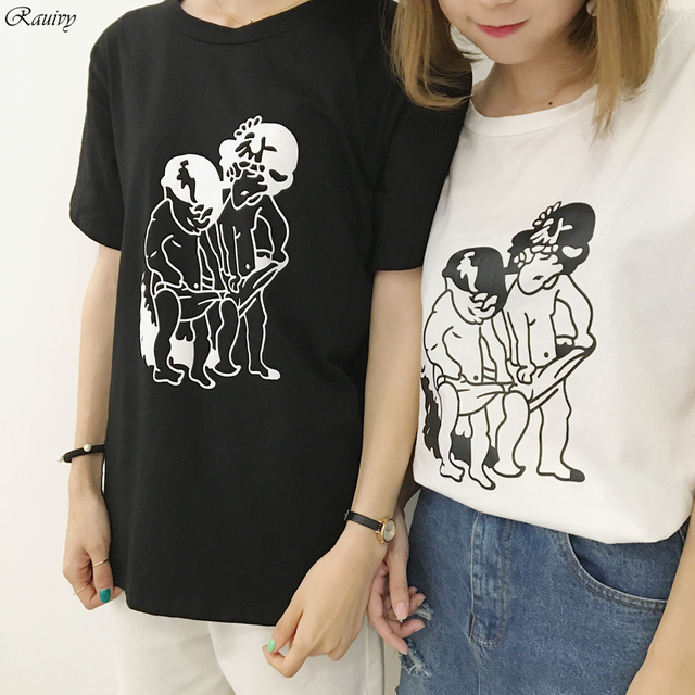 Bts 2017 Vintage T Shirts Korean Summer Harajuku Shirt Fashion Retro Funny Cute Cartoon Characters