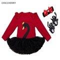 2017 Bebes Cisne Negro Rojo de Manga Larga de Encaje Tutu Vestidos de Las Muchachas diadema Zapatos del Pesebre del Recién Nacido Baby Girl Clothes Vetement Bebe Fille
