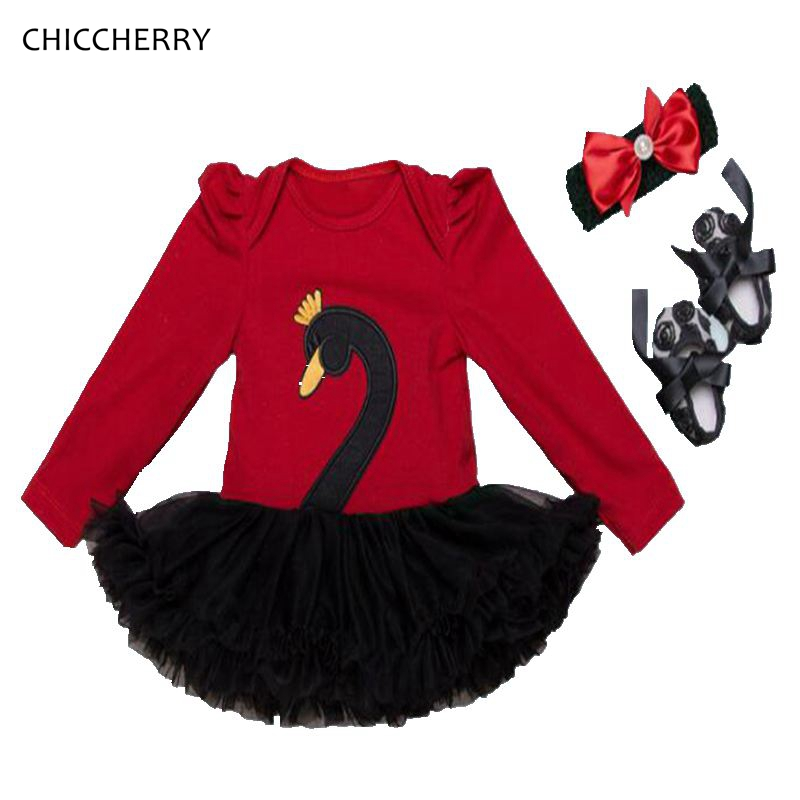 2018 Black Swan Red Long Sleeve Bebes Lace Tutu Girls Dresses Headband Crib Shoes New Born Baby Girl Clothes Vetement Bebe Fille