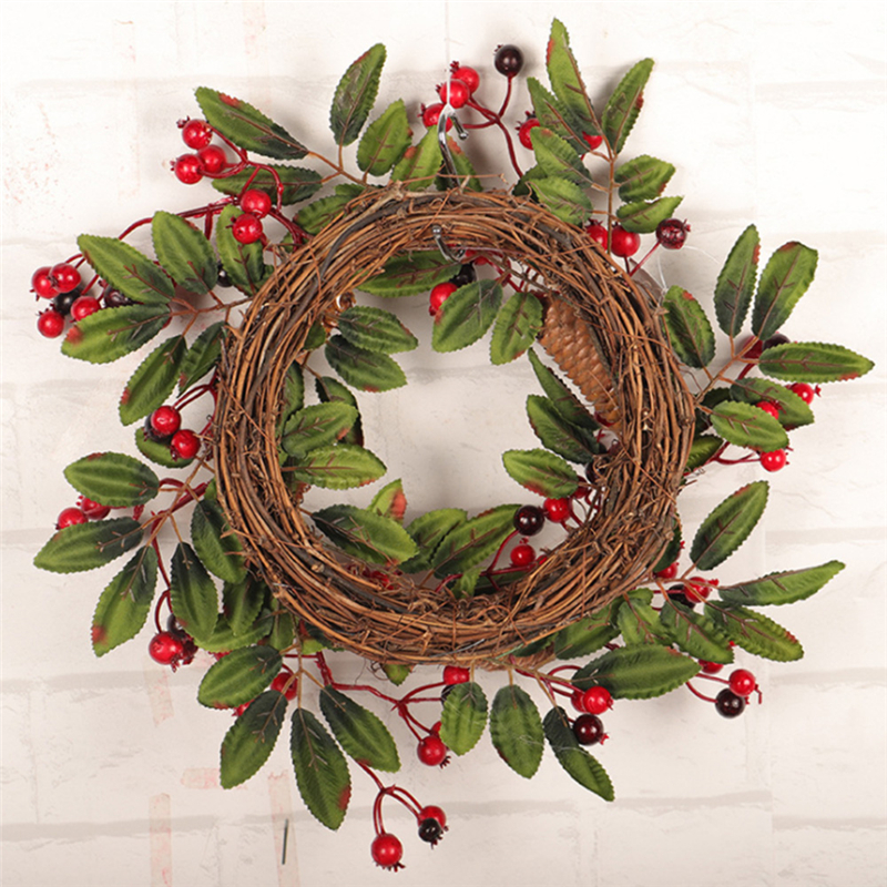 Image 5 - Christmas Wreath Door Decoration Artificial Foam Berry Wreath With Natural Pine Cone Pendant Wall Decor Wreath 40cm-in Wreaths & Garlands from Home & Garden