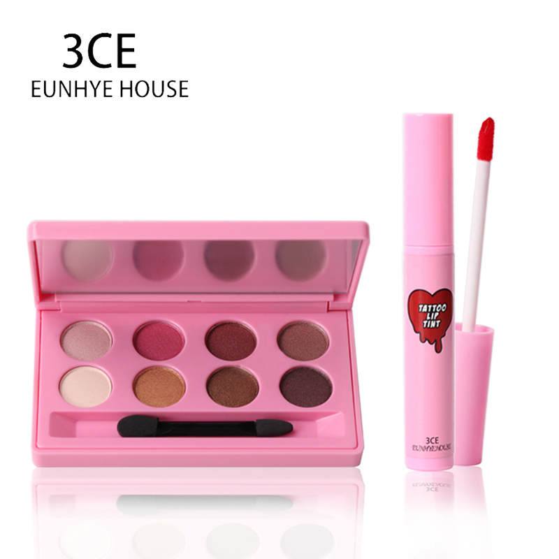 3CE Eunhye Home Brand Makeup set Waterproof Eyeshadow 8 Colors In 1 Makeup Set & Easy To Wear Matte Lipgloss Cosmetics Set