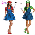 1X Super Mario Costume woman Cartoon Cosplay Sexy Plumber Red Green Costume Mario Fantasia Super Mario Bros Adults Total 5 pcs