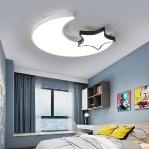Image 5 - Lámpara de techo de Luna y estrella blanca para dormitorio, accesorio de iluminación moderno para habitación de niños y bebés, luces Led para el techo del hogar