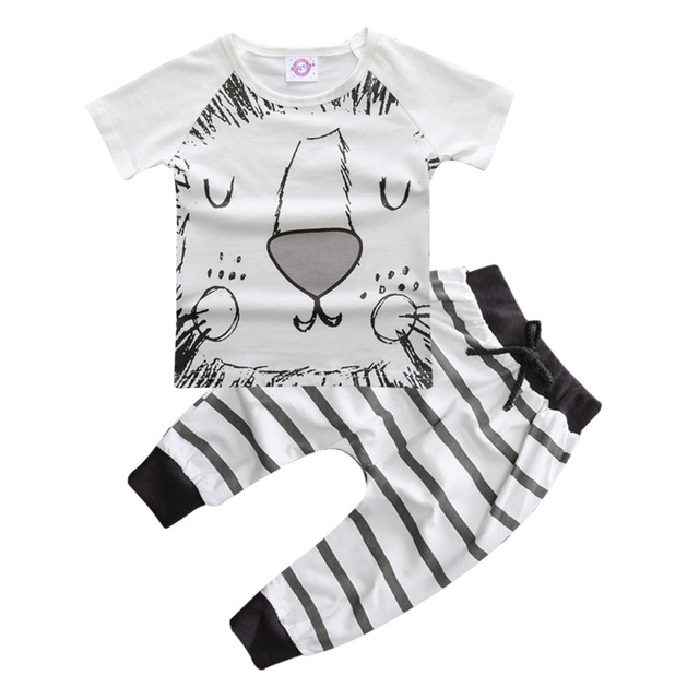 27e2a1a5 US $13.03 |0 2 Years Kids Clothes Summer Boys Clothes Set Kids Suits Lion  Face Printing T shirt+Pants Toddler Clothing Sets For Children-in Clothing  ...