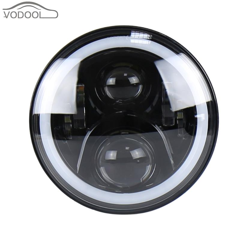 50W 7 Round Colorful LED Car Halo Ring Headlamp Aperture Light-emitting Diode Headlight Head Light Lamp for Jeep Wrangler Auto co light 2pcs 7 inch led driving light 50w 30w h4 h13 led car headlight kit auto for jeep led head lamp bulbs dipped