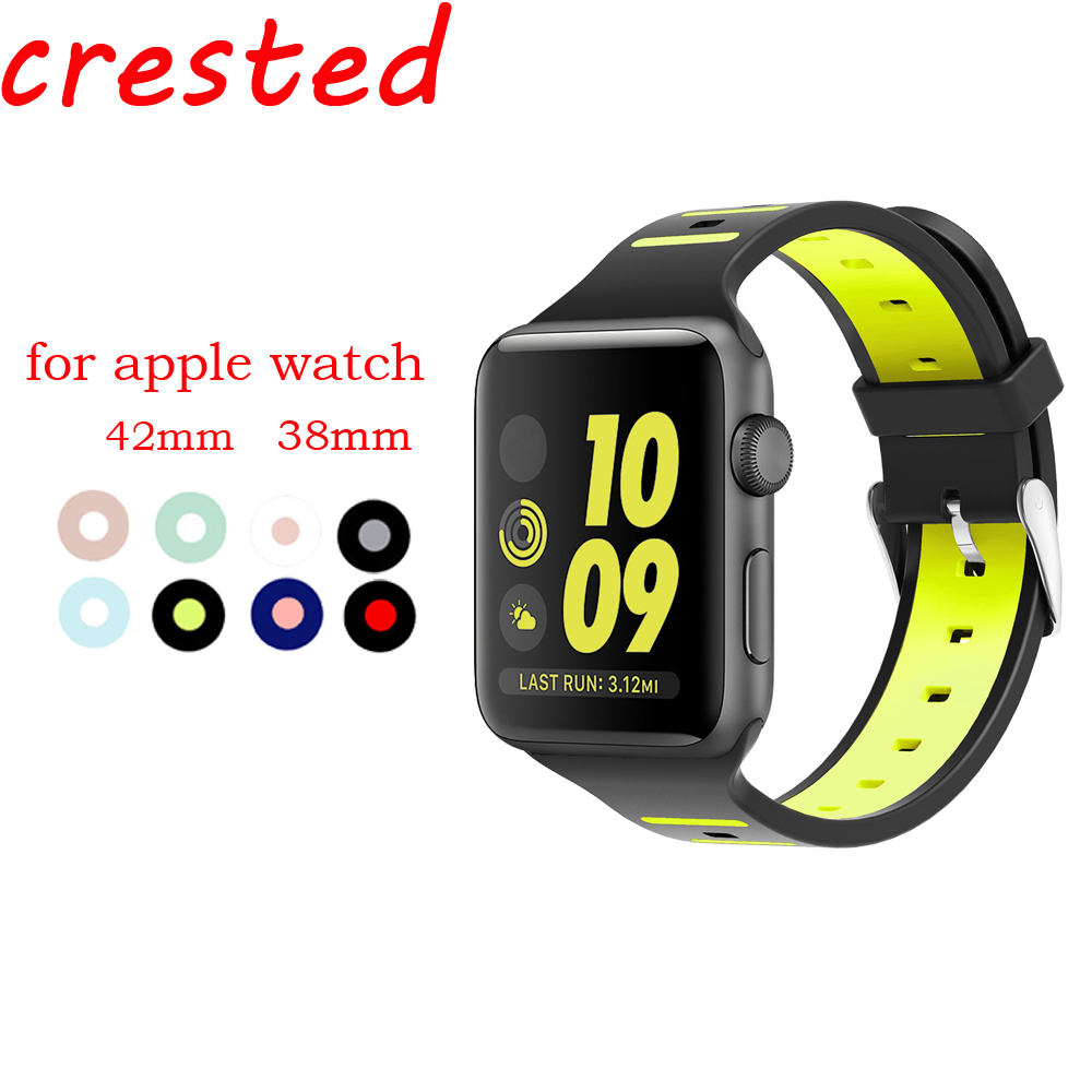 CRESTED sport silicone strap band for apple watch iwatch 3/2/1 42mm 38mm Double color rubber wrist bracelet with metal buckle