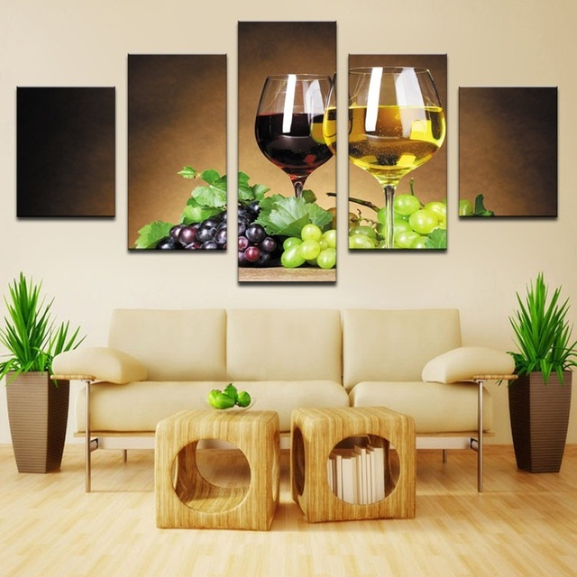 5 Panel Canvas Art Fruit Grape Wine Glass Pictures for Kitchen or ...