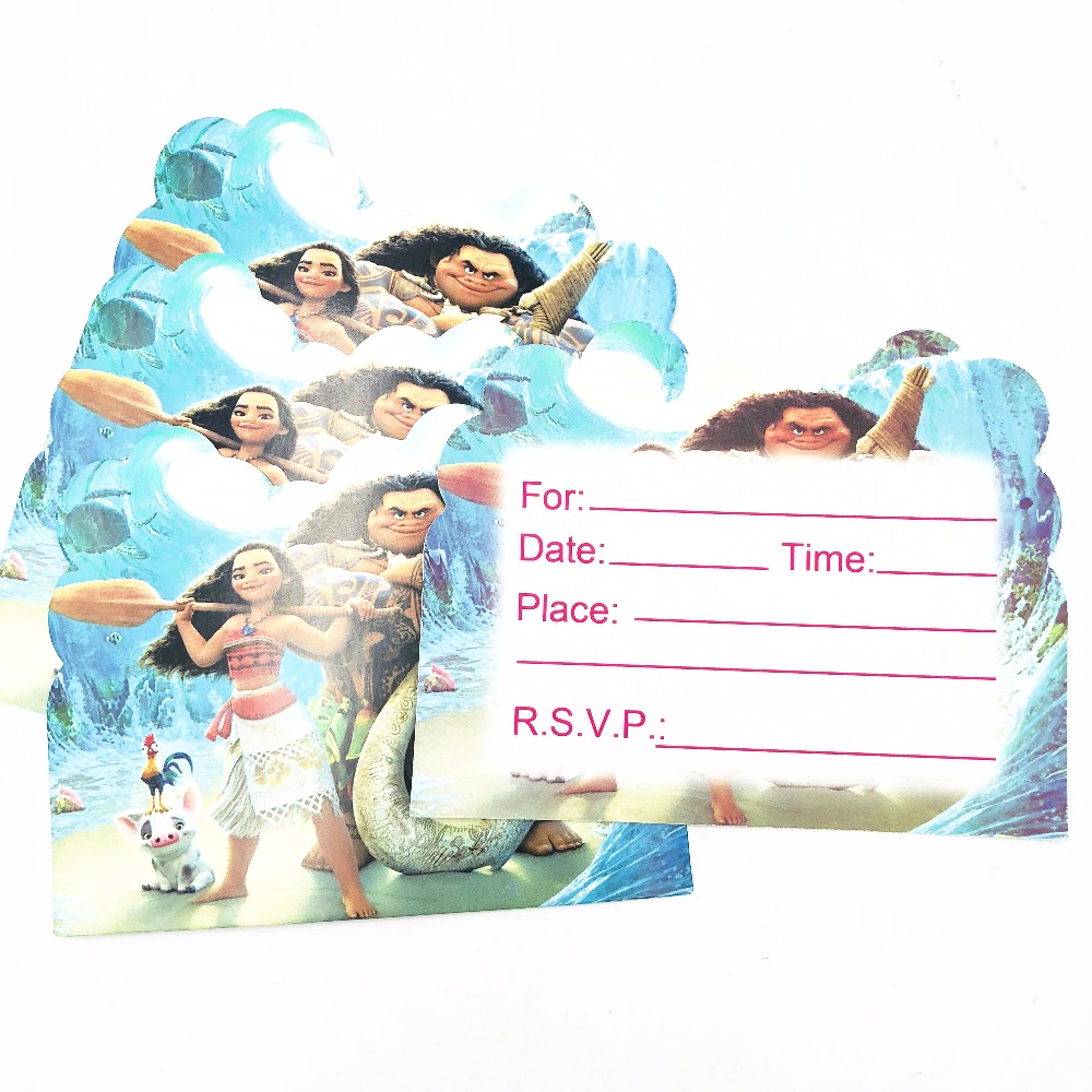 10pc Mickey Minnie Invitation Cards Trolls Moana Minions Frozen ...
