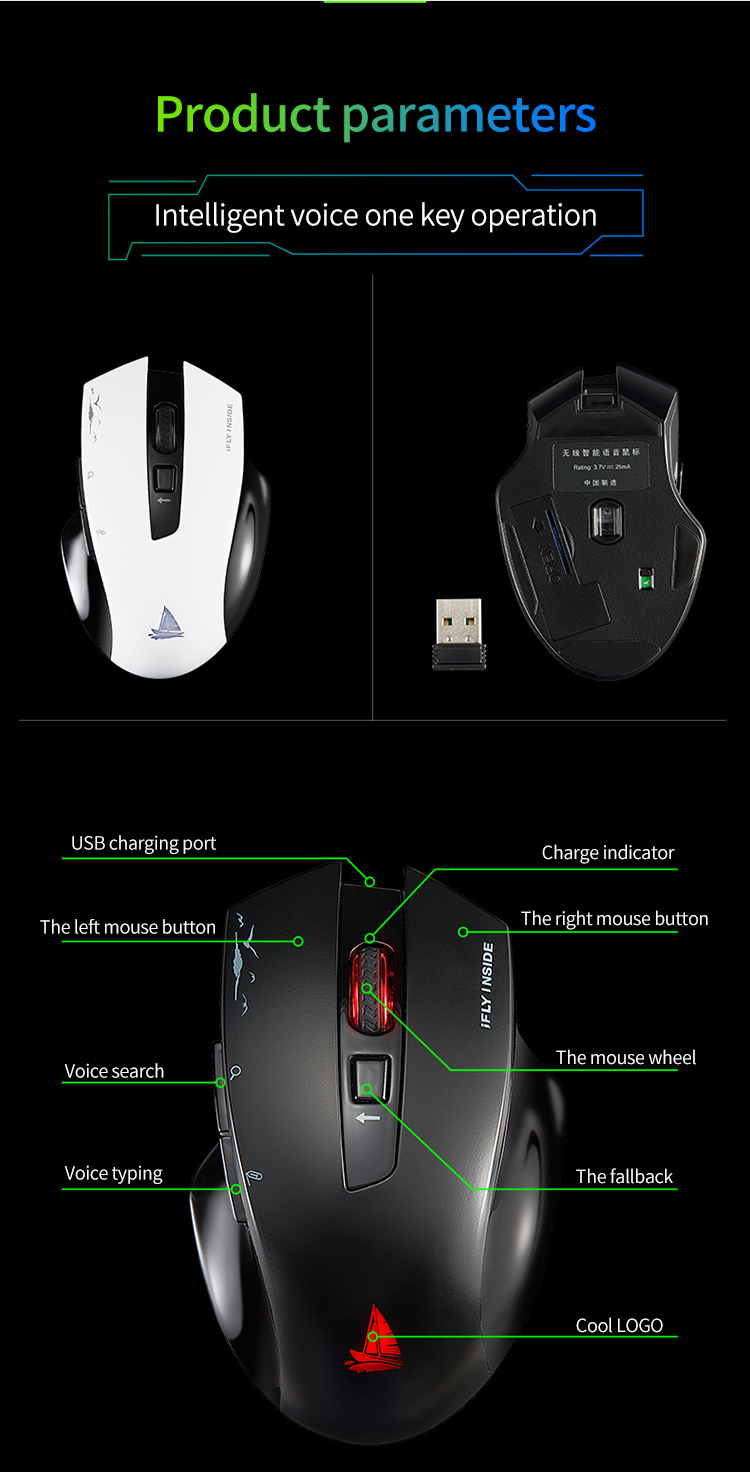 Cerreat Smart Voice Translation Mouse Portable Instant Intelligent speech translateTypingSearch 2.4G Wireless Mouse with Enter Key 24 Target Languages (15)