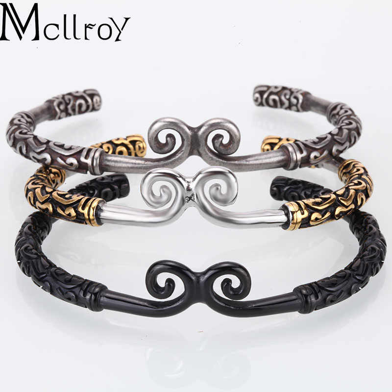 Mcllroy bangle men/stainless steel/cuff/open bangle jewelry Punk Fashion Accessories Viking Men Wristband Bracelets for women