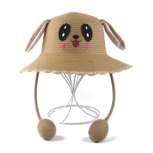 Cartoon Rabbit Ears Moving Visor Hat Kids Summer Boy Girl Sun Cap Parent Child Straw