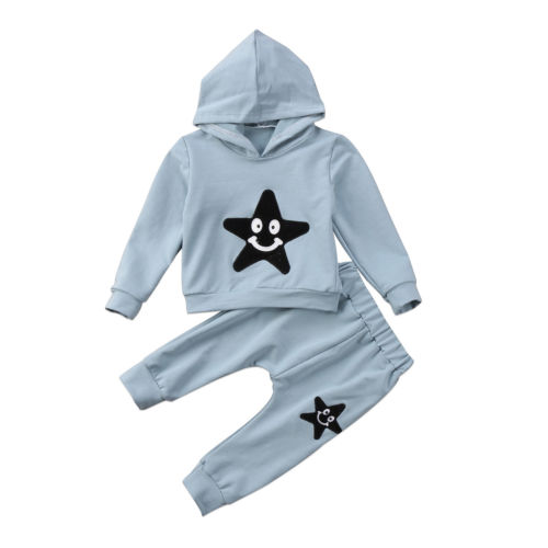 Kids Baby Girls Boys Stars Smile Hooded Tops Sweatshirt Pants 2pcs Outfits Set Cute Children Clothes 2-7Y