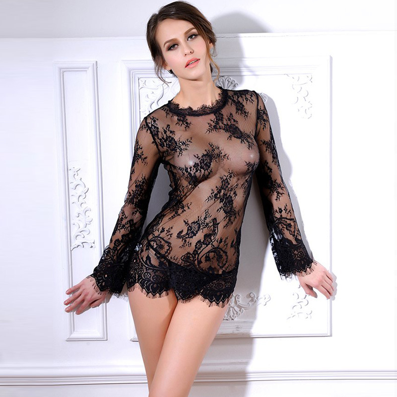 Sexy Sheer Lace   Blouse     Shirt   Blusas Femininas See Through Top Tee Naughty Lingerie Chemise Women Fashion Outfit
