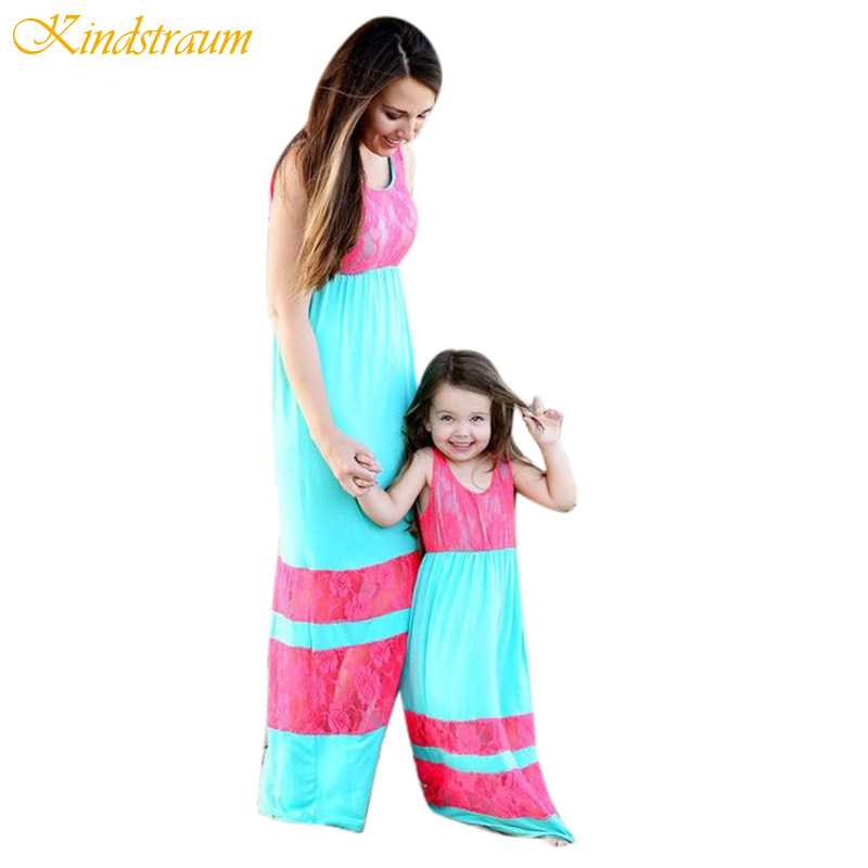 Kindstraum Family Clothes Outfits Mother Daughter Dresses Patchwork Fashion Summer Mom and Kids Girl Dress Holiday Clothes,MC605