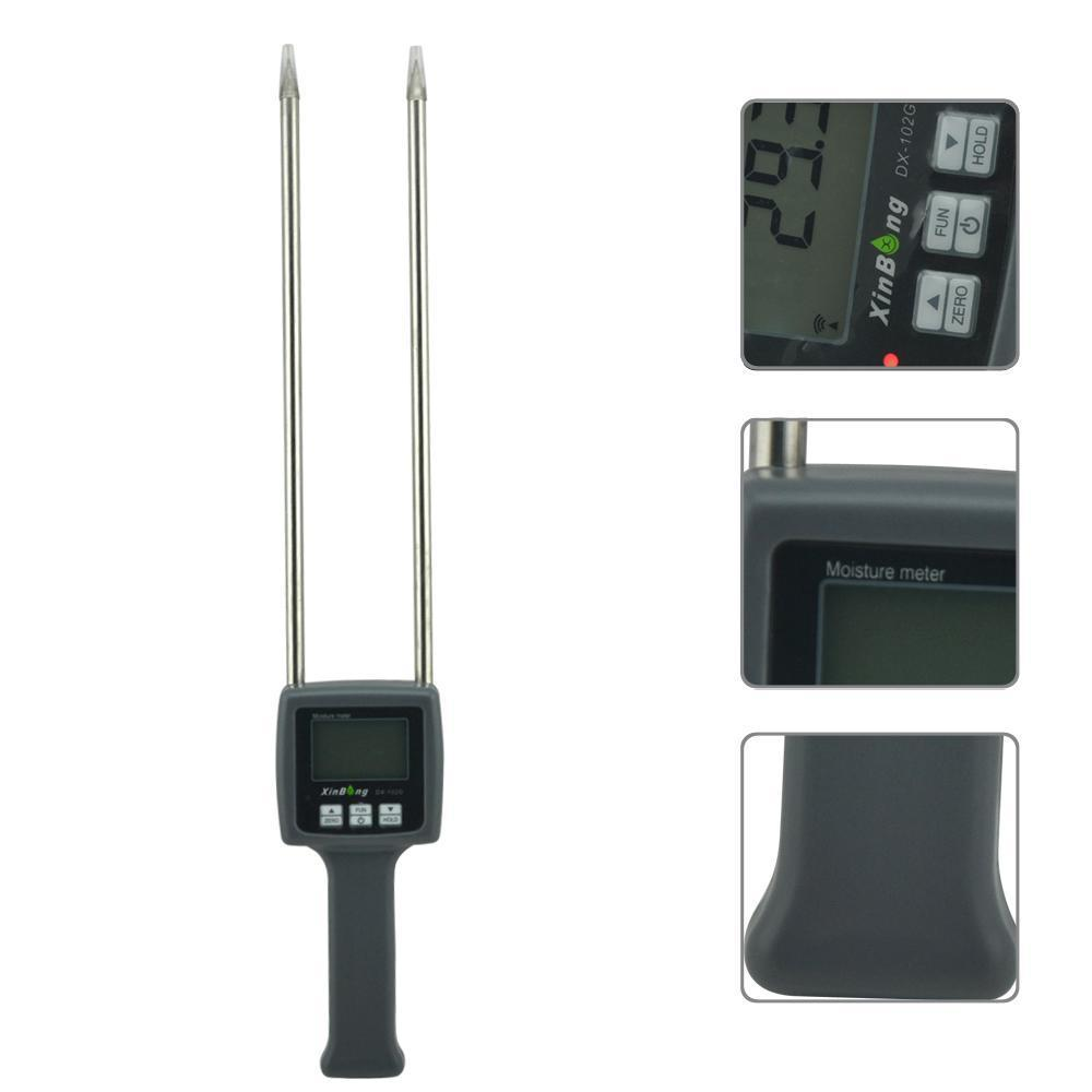 Hygrometers Professional grain flour moisture meter tester maize Paddy coffee flour DX-102G humidity mc 7806 wholesale retail moisture meter pin type moisture tester
