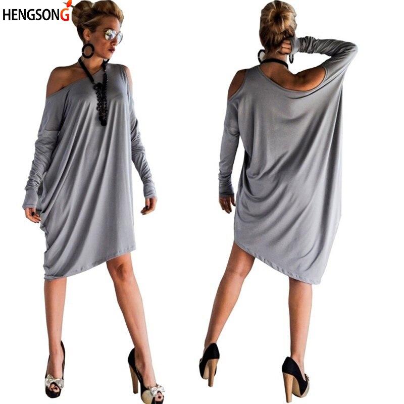 5XL Plus Size Dress Women Sexy Off The Shoulder Long Sleeve Casual Loose  Dress Vistidos Beach 003634aa420f