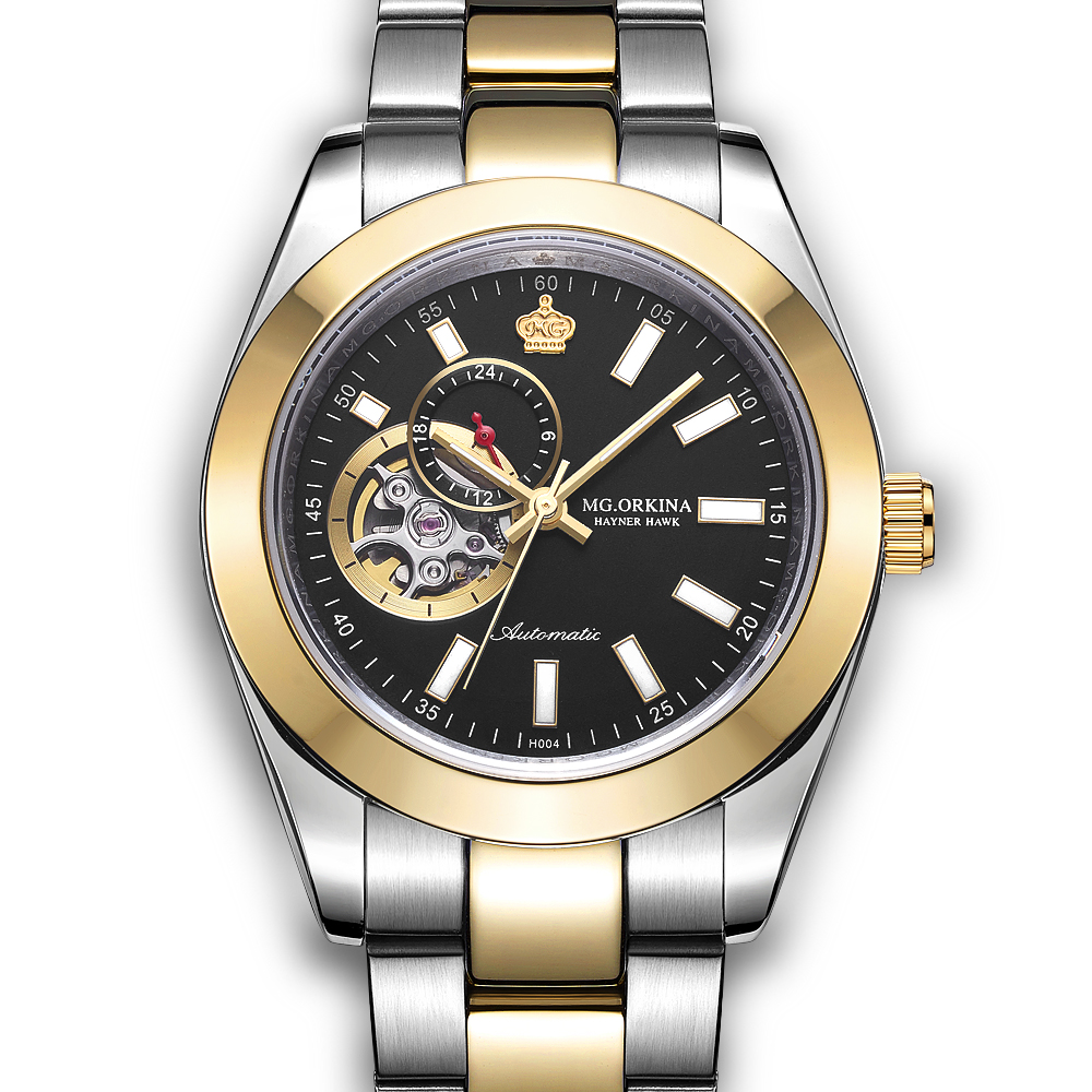 ORKINA Luxury Gold-Silver Tone Stainless Steel Male Clock Sapphire Men's Wristwatch Water Resistant Automatic Mechanical Watch цена 2017