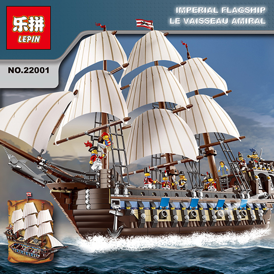 NEW LEPIN 22001 Pirate Ship warships Model Building Kits Block Briks Toys 1717pcs Compatible With 10210 puzzel for Children Gift lepin 22001 pirates series the imperial flagship model building blocks set pirate ship legoings toys for children clone 10210