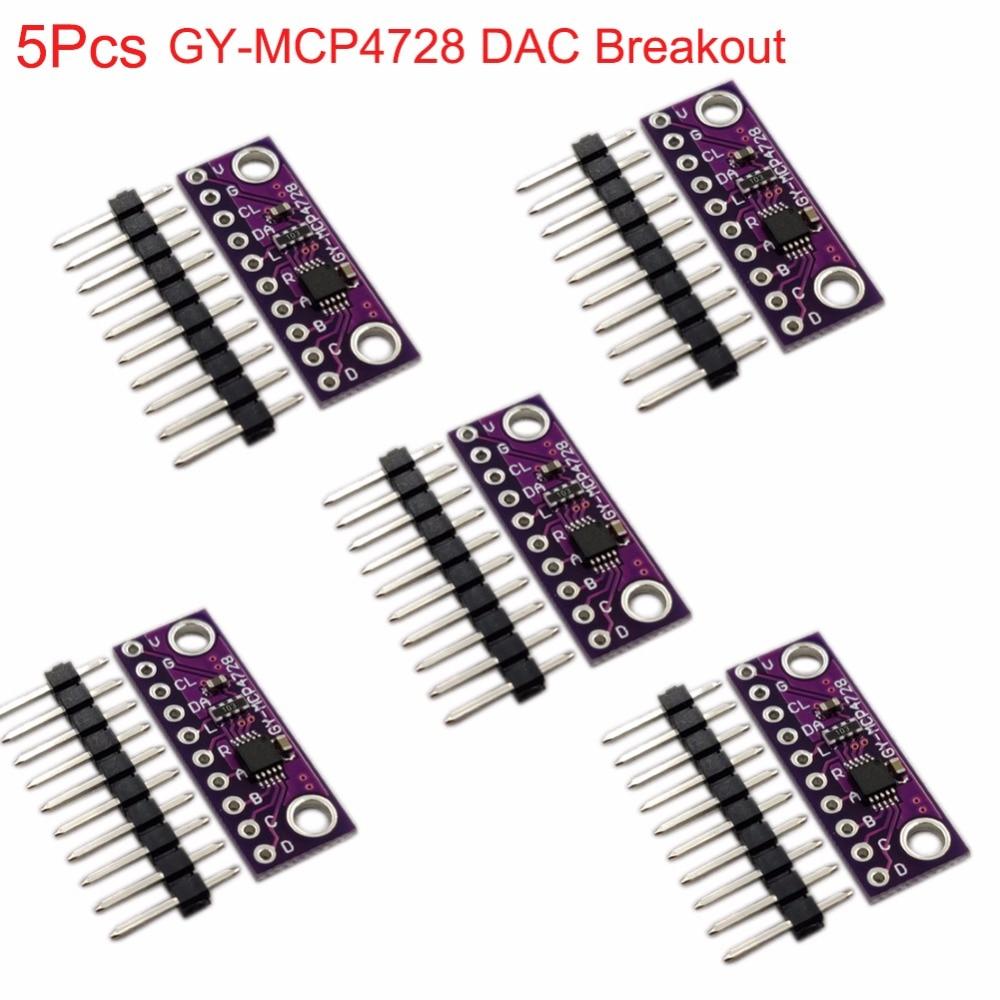 5Pcs MCP4728 12 Bit Breakoout 12bits I2C Digital To Analog Converter DAC Sensor Module GY-MCP4728 Low Power Consumption FZ3481