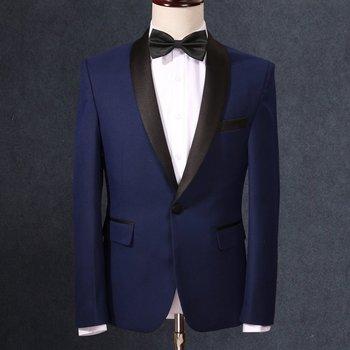 8adde00335ce3 (Куртка + брюки + галстук) новое поступление синий свадебный костюм для  мужчин черный шаль