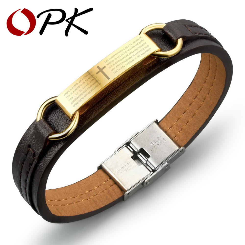 OPK PU Leather Man s Bracelet Classical Gold Color Stainless Steel Cross Holy Bible Design Men