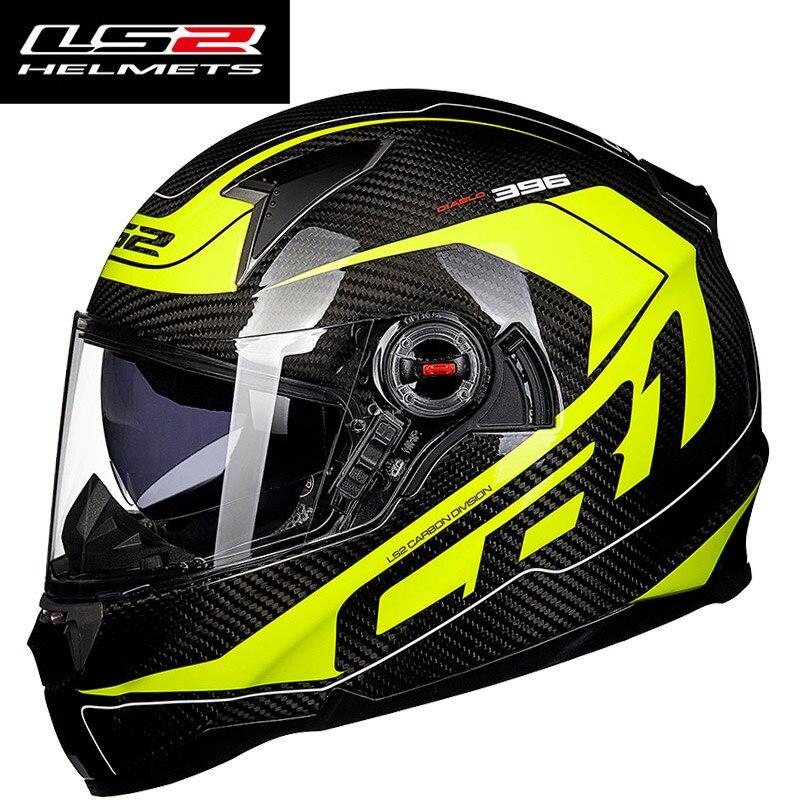 Véritable LS2 FF396 Casque de moto En Fiber De Carbone Intégral racing moto Casques avec pompe à Air double lentille visière moto casque