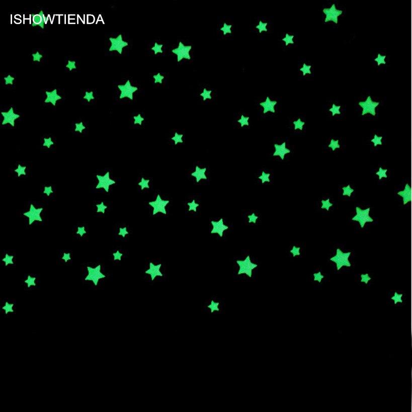ISHOWTIENDA 100Pcs/Pack Luminous Stars Wall Stickers Glow In The Dark Stars For Kids Baby Room DIY Wall Art Home Decor Sticker