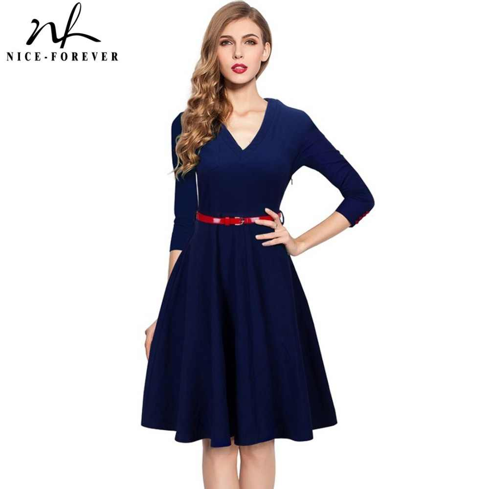 Nice-forever Spring Stylish Charming Elegant Lady dress Women button 3 4  Sleeve Vintage 7e474d269dad