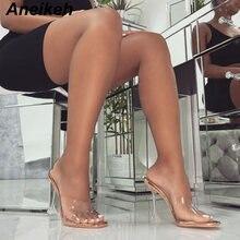 Туфли aneikeh без шнуровки на тонком каблуке шлепанцы с открытым