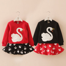 Child set 2015 autumn and winter female children's child clothing t-shirt waist skirt fleece Red and black  tz-2633 twinset