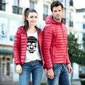 SoftFox 2016 invierno duck down jacket mujeres y hombre de baja estatura parkas capa engrosamiento Ropa de Abrigo de La Manga Completa de Alta Calidad Del Envío nave