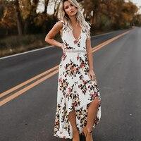 DERUILADY Fashion Boho Style Long Dress Summer Sleeveless V Neck Vintage Floral Maxi Dress Party Beach