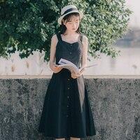 Mori Girl Summer Sundress 2018 New Fashion Women Sleeveless Vest V Neck Cotton Dresses Button Black
