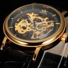 2016 sewor marca de lujo de diseño de moda masculina negocio de acero esqueleto viento de la mano mecánica hombres reloj militar reloj de pulsera de regalo