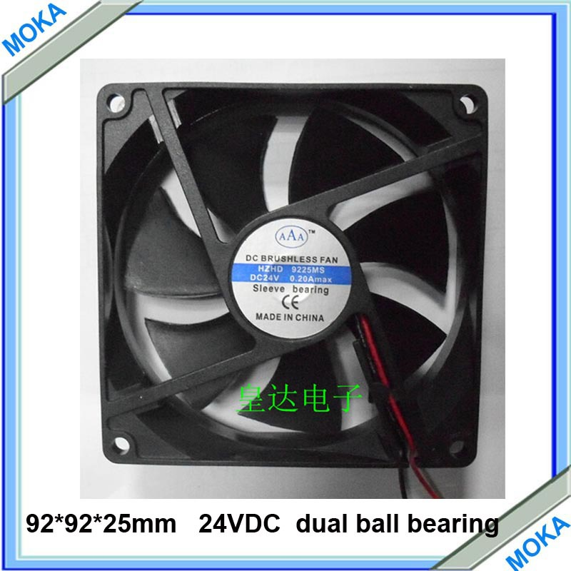 Free Shipping Good Quality  5 Pieces / Lot Electronic Enclosures Computer Case DC24V Sleeve Bearing Industrial Fan 92mm
