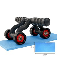 Dropshipping Shopify Hot Sale 4 Wheels Power Wheel Triple AB Abdominal Roller Abs Workout Fitness Machine Gym Knee Pad