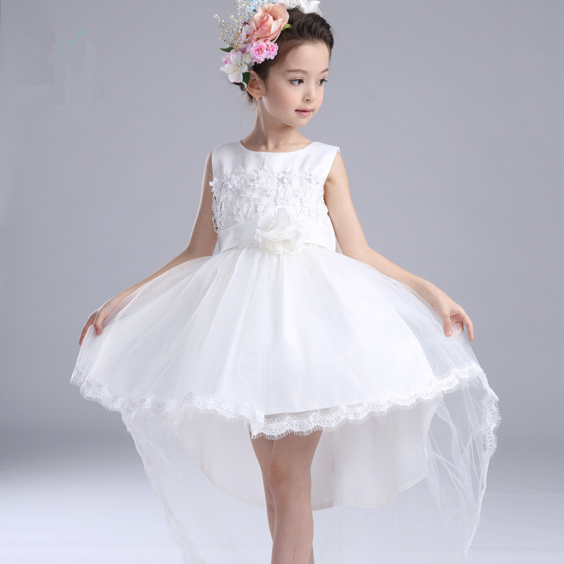 ФОТО Fancy White Tailed Girls's Dresses Children Flower Girl Vestidos 2017 Fashion Kids Clothes For 3 To 14 Years Old AKF164096